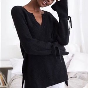 Aerie Black Sweater with sleeve ties, L.